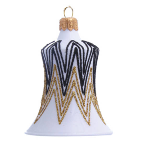 Glass Bell White, Black and Gold Decor 8cm