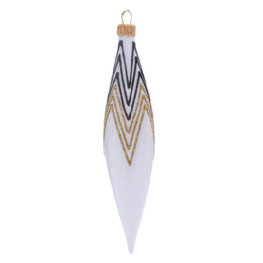 Glass Olive White, Black & Gold Decor 14cm