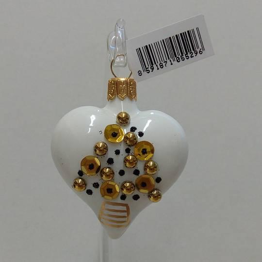 Glass Heart White, Gold & Black Tree 8cm