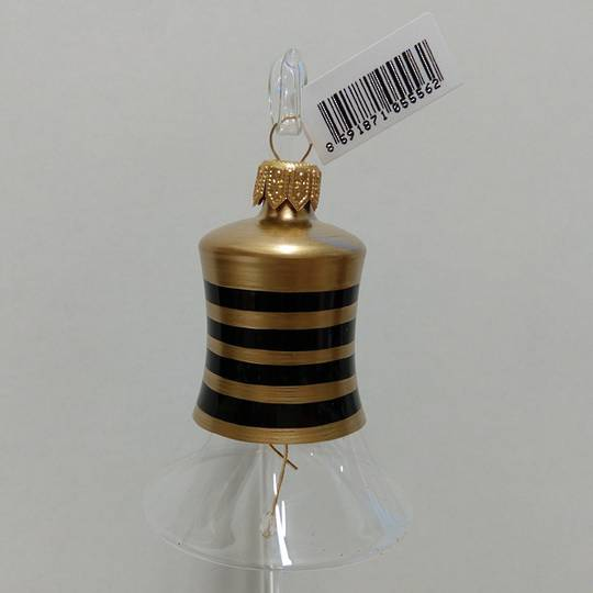 Glass Bell Clear, Black & Gold Stripes 8cm