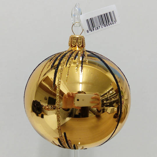 Glass Ball Gold, Gold & Black Stripes and Lines 8cm