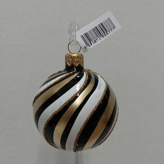 Glass Ball Black, Gold And White Spiral 6cm