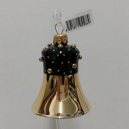 Glass Bell Gold, Black Decor and Stones 8cm