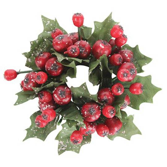 CandleRing, Cranberry and Leaf 4cm