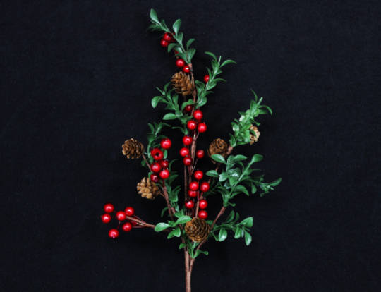 Red Berry, Green Leaf Branch 60cm