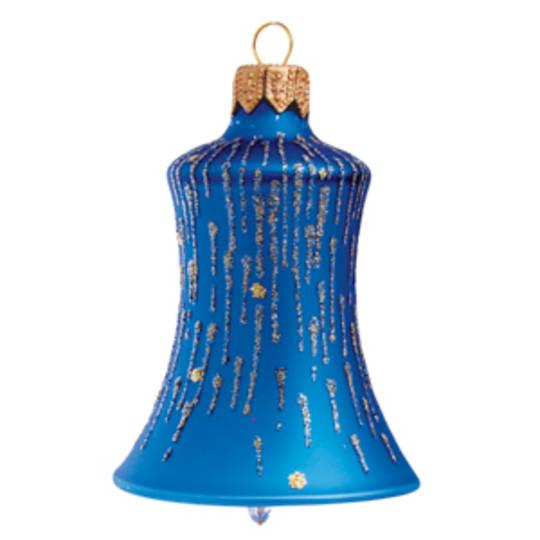Glass Bell Matt Metallic Blue, Blue & Gold Stripes 8cm