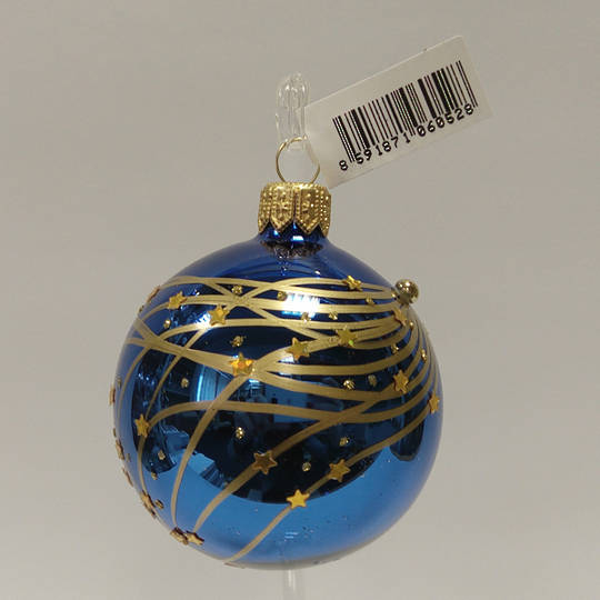 Glass Ball Metallic Blue, Gold Stripes and Stars 6cm