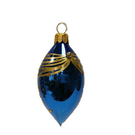 Glass Olive Metallic Blue, Gold Lines and Stars 8cm