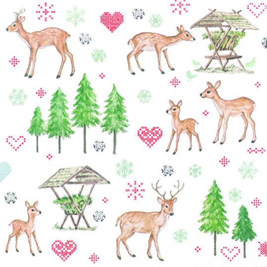 Paper Napkins 33cm, Charming Deers