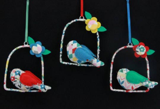 Fabric Hanging Bird on Swing 7cm, each