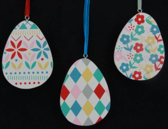 Wood Painted Egg 8cm, each