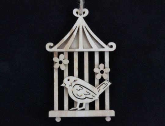 Wood Bird on Cage 15cm