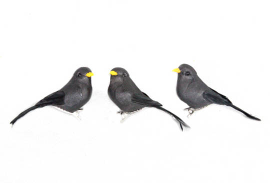 Black Feathered Bird Clip 8cm