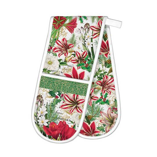 Merry Floral Christmas Double Oven Glove