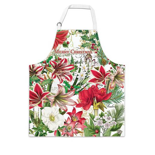 Merry Floral Christmas Apron