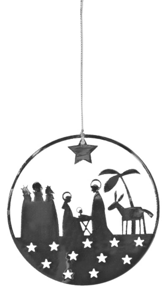 Flat Metal Decoration Nativity 9cm
