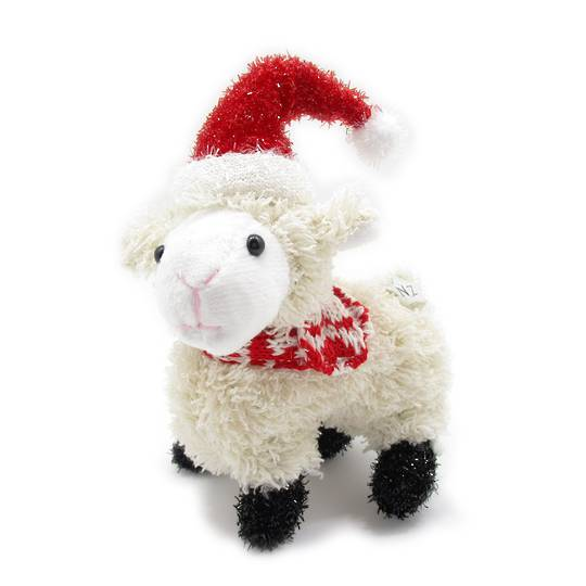 Iconic Hanging Fabric Sheep with Santa Hat