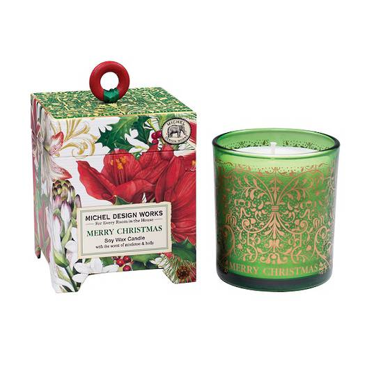 Merry Floral Christmas Soy Wax Candle