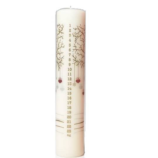 Advent Candle White, Winter Tree with Heart Decorations
