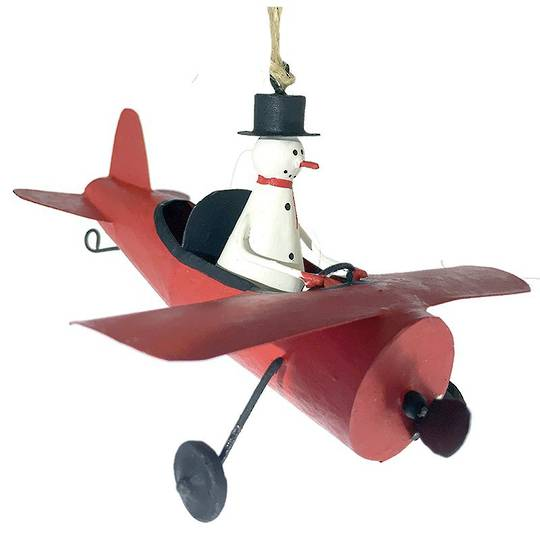 Tin Snowman in Red Plane
