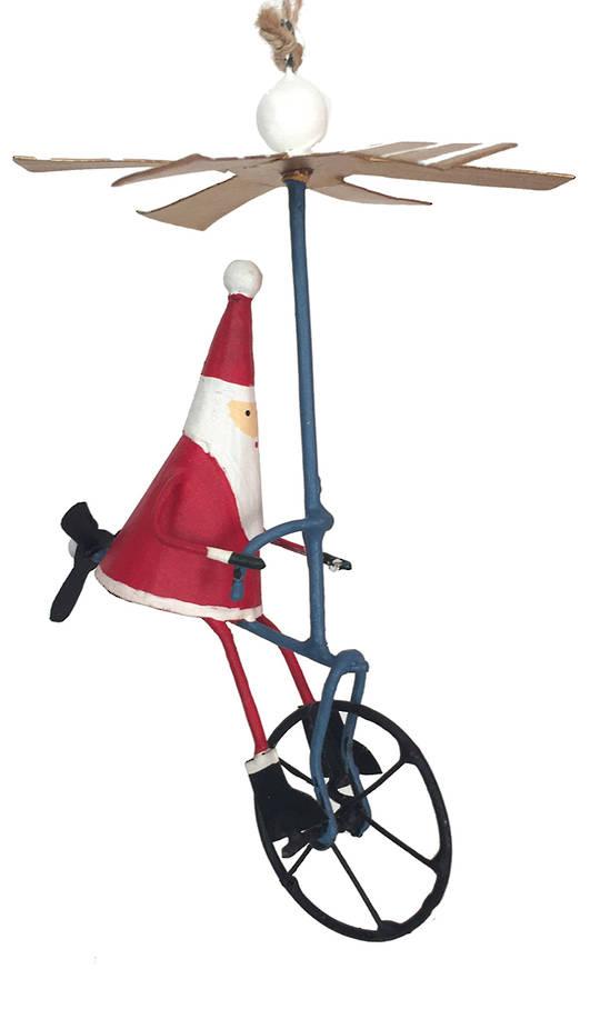 Tin Santa on Air Bike 16cm