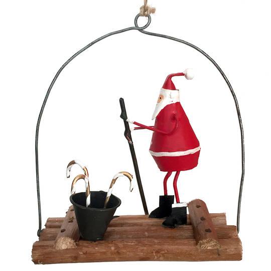 Tin Santa on Water Raft 21cm