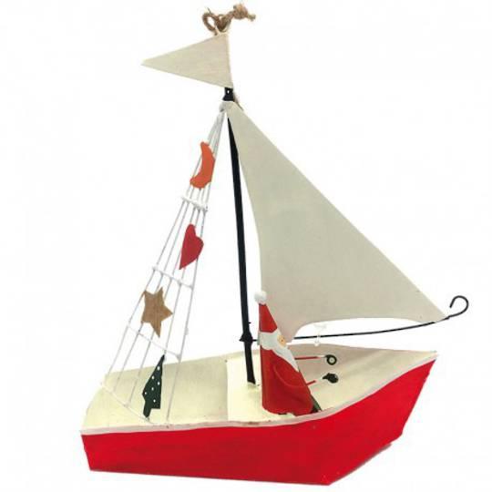 Tin Santa in Sailing Boat 14cm