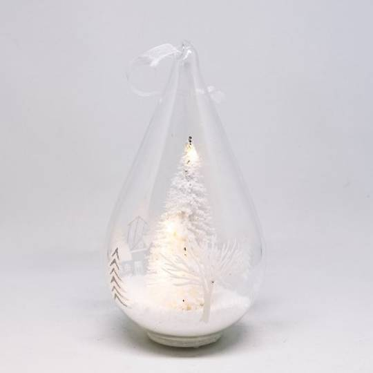 Glass Tear Drop Clear, LED Forest Scene