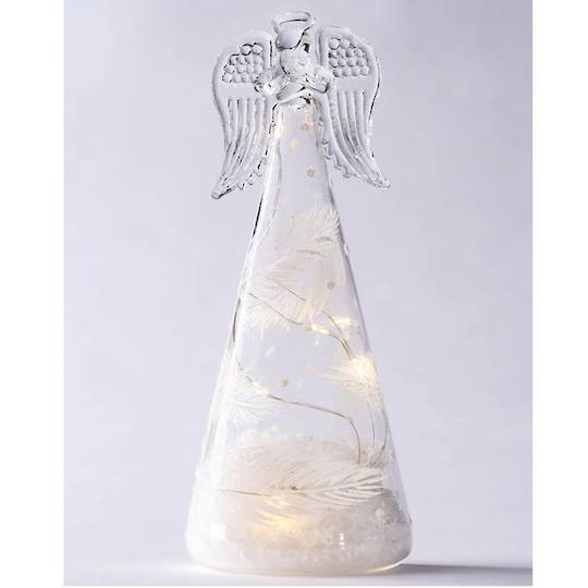 Glass Angel Clear, LED Feather Decor