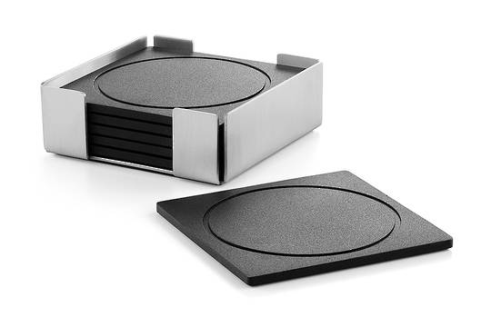 TableTop, Silicon Square Coaster Set 6 with Stainless Steel Holder