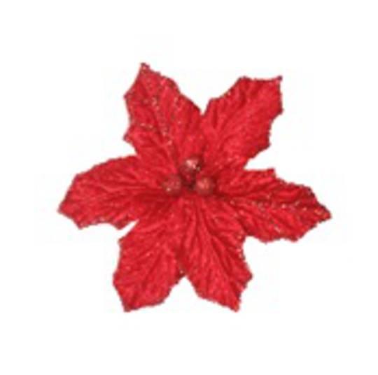 Red Holly Poinsettia Clip 18cm