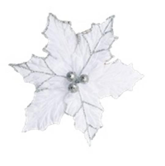 White Holly Poinsettia Clip 21cm