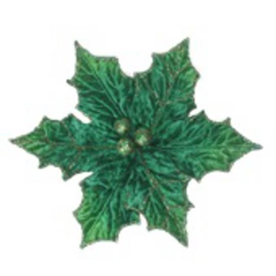 Green Holly Poinsettia Clip 21cm