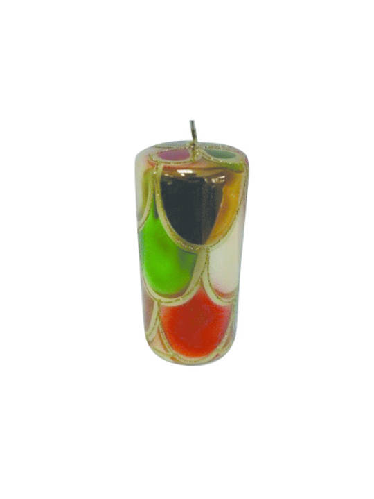 Candle Metallic Green, Red & Bronze