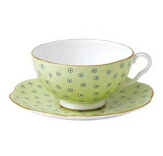 Wedgwood Polka Dot Cup and Saucer, Green 250ml