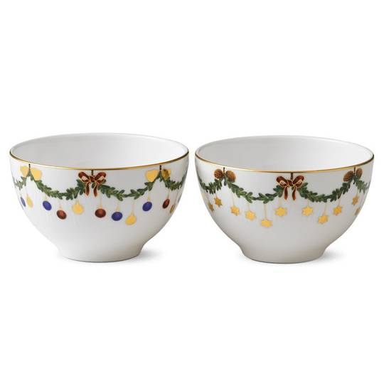 StarFluted Christmas Small Bowl 300ml, Pair