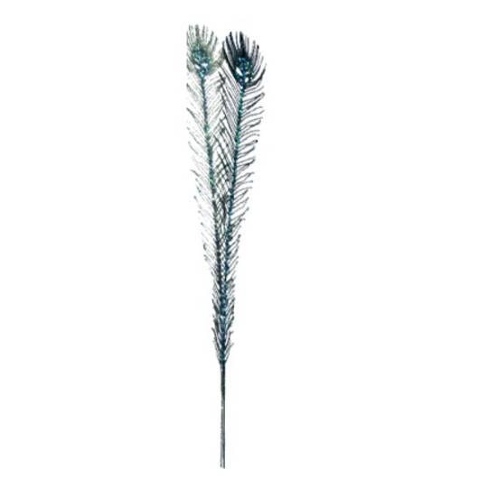 Peacock Glitter Feather Spray 60cm
