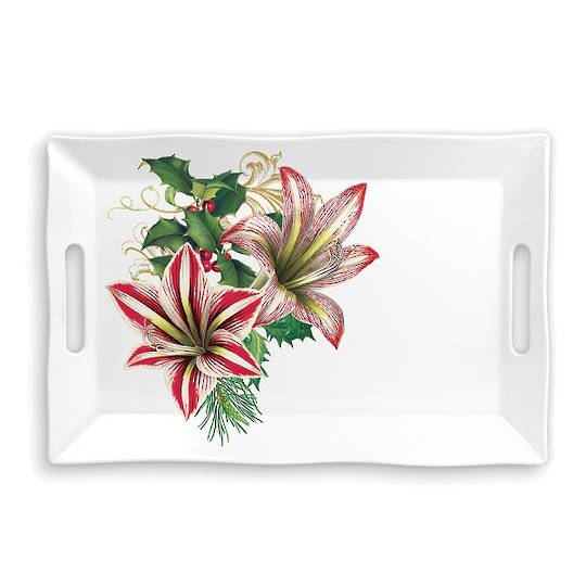 Merry Floral Christmas Large Melamine Tray