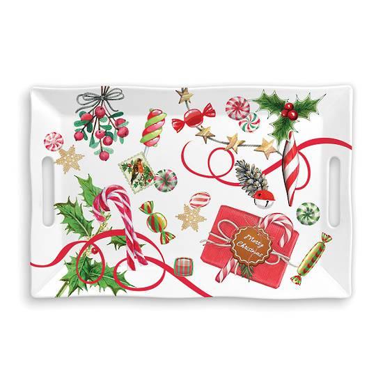 Christmas Peppermint Large Melamine Tray