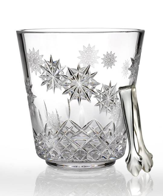 Waterford Snowflake Wishes Ice Bucket w/Tongs