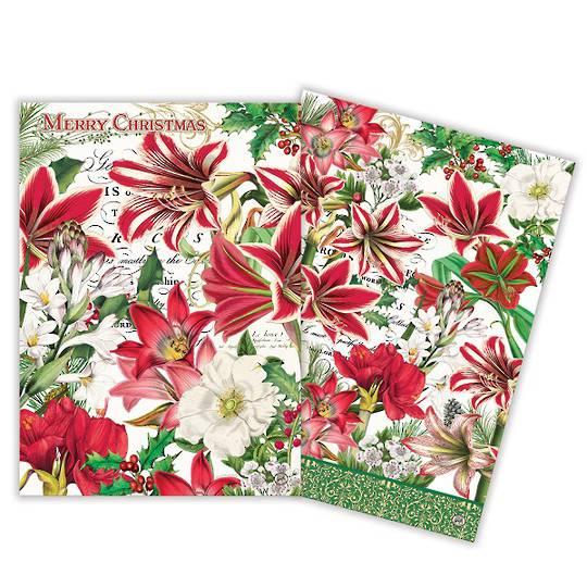 Merry Floral Christmas Tea Towel