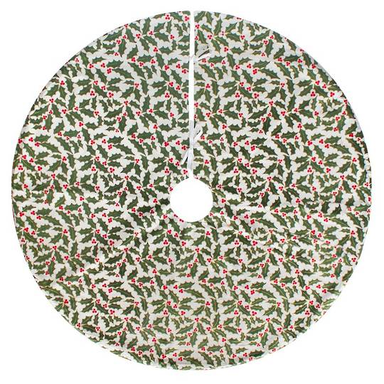 Xmas Tree Skirt, Holly Pattern