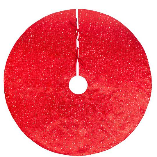 Xmas Tree Skirt, Red with Gold Stars