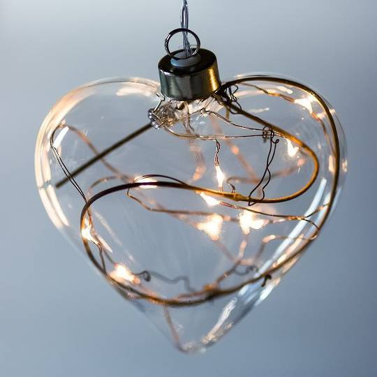 Twinkle Glass Heart, Clear 14cm