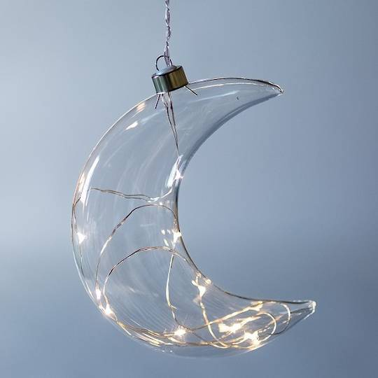 Twinkle Glass Moon, Clear 14cm SOLD OUT