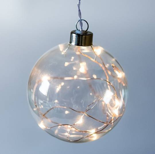 Twinkle Glass Sphere, Clear 14cm SOLD OUT