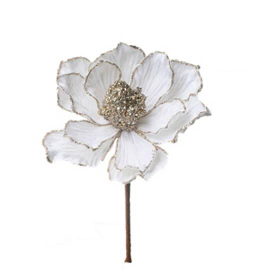 Velvet Cream Magnolia Pick 23cm