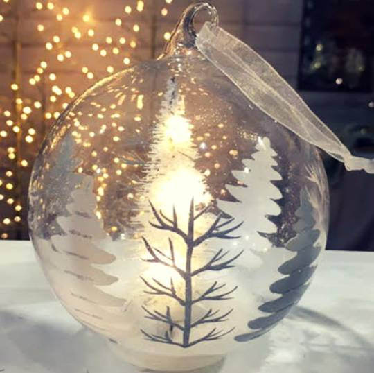 Glass Ball Clear, LED forest Scene 10cm