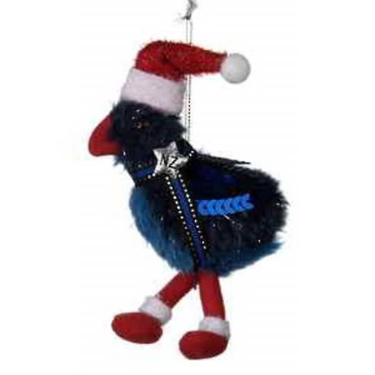 Iconic Hanging Fabric Pukeko with Santa Hat