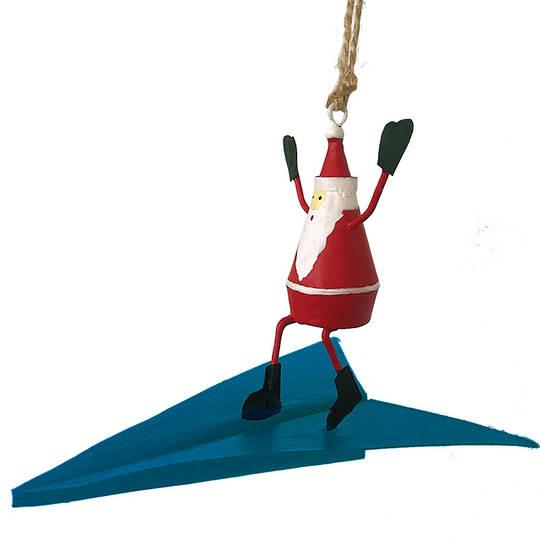 Tin Santa on Dart Plane 11cm